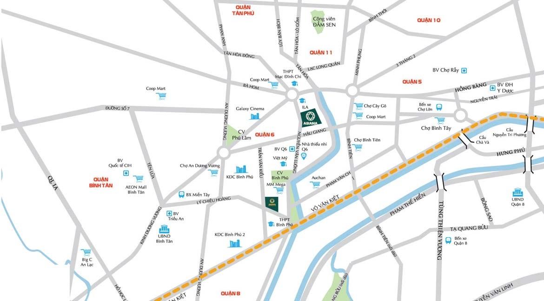 Vị trí địa chỉ dự án căn hộ SaiGon Asiana Quận 6
