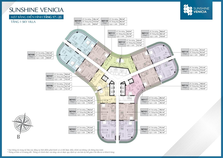 Mặt bằng dự án căn hộ chung cư Sunshine Venicia Quận 2 Đường Thủ Thiêm chủ đầu tư Sunshine Group