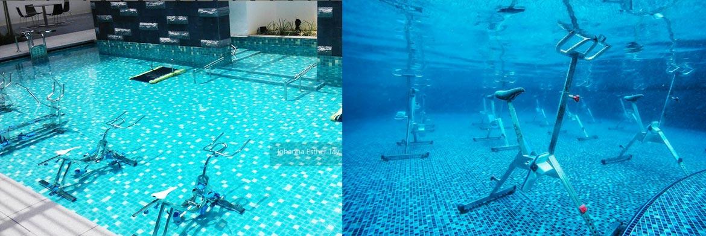 Máy tập Aqua Gym tại hồ bơi tầng 30 dự án căn hộ D Homme đường Hồng Bàng Quận 6