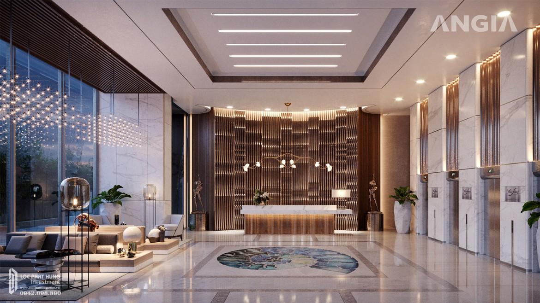 Sảnh đón hình ốc biểu tượng âm thanh của tiêng Sóng tai dự án căn hộ du lịch condotel The Sóng Vũng Tàu