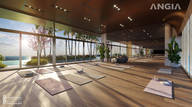 Phòng tập Yoga tại tầng 35 view hồ bơi và toàn cảnh Vũng Tàu tại căn hộ du lịch condotel The Sóng Vũng Tàu