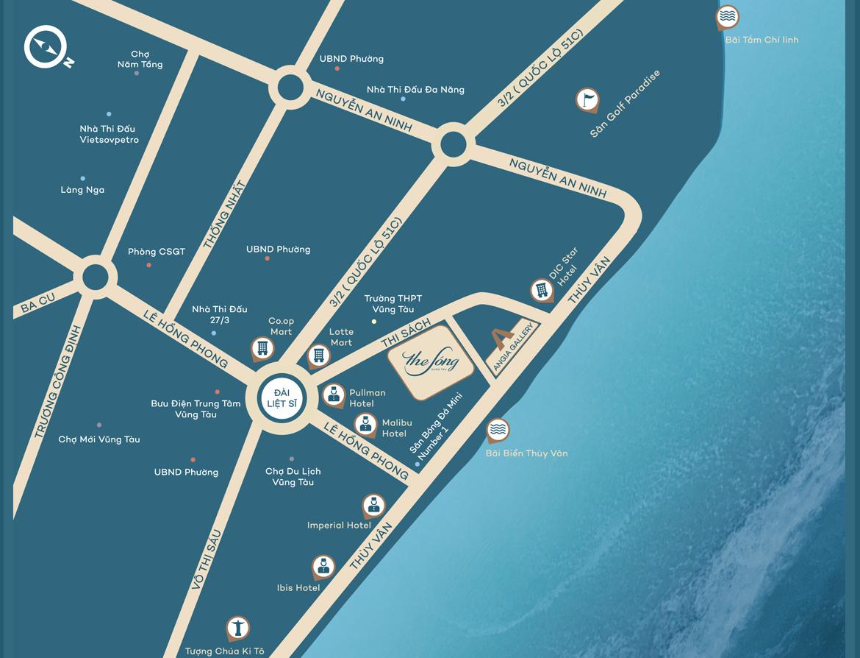 Vị trí địa chỉ dự án căn hộ du lịch condotel The Sóng Vũng Tàu