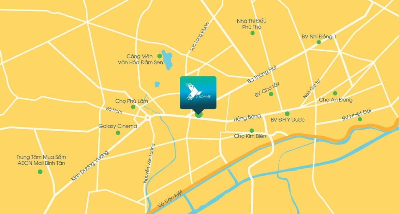 Vị trí địa chỉ dự án căn hộ chung cư D Homme Quận 6 Đường Hồng Bàng chủ đầu tư DHA
