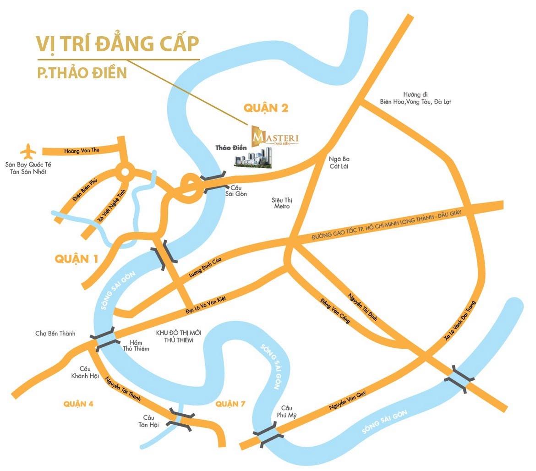 Vị trí địa chỉ dự án căn hộ chung cư Masteri Thảo Điền Quận 2 Đường Xa lộ Hà Nội chủ đầu tư Thảo Điền Investment