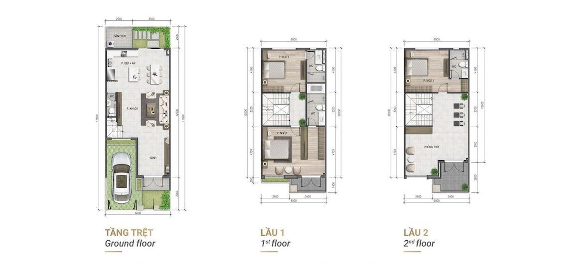 Thiết kế chi tiết mẫu nhà phố Verosa Park Khang ĐIền Quận 9 - Mẫu 6x15, 6x16, 6x17