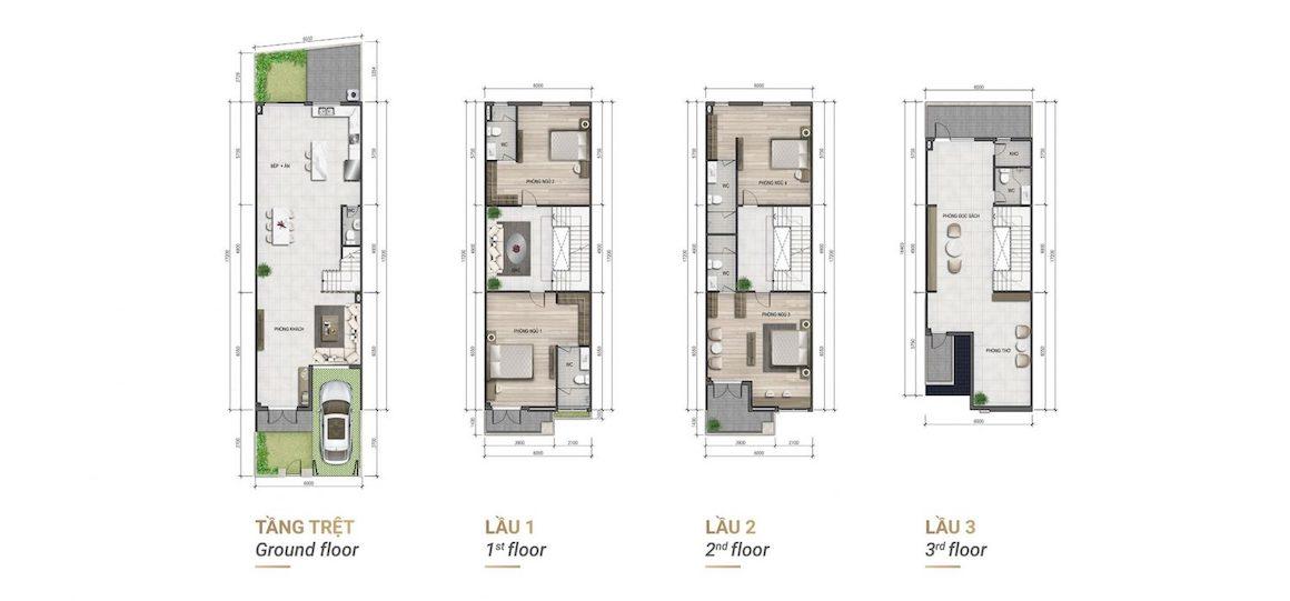 Thiết kế chi tiết mẫu nhà phố Verosa Park Khang ĐIền Quận 9 - Mẫu 5x15, 5x16, 5x17