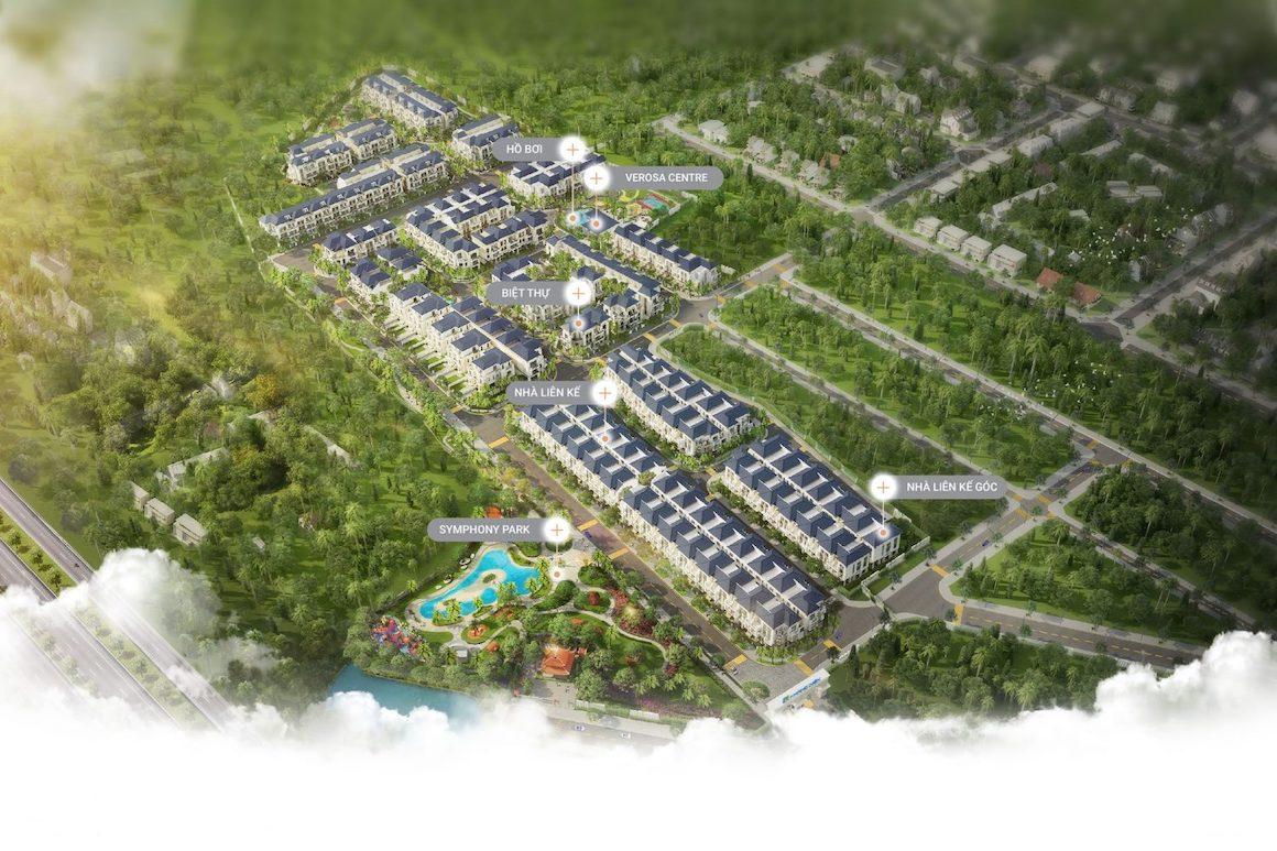 Mặt bằng tổng thể dự án nhà phố Verosa Park Khang Điền Quận 9. LH: 0949.893.893 xem thực tế dự án