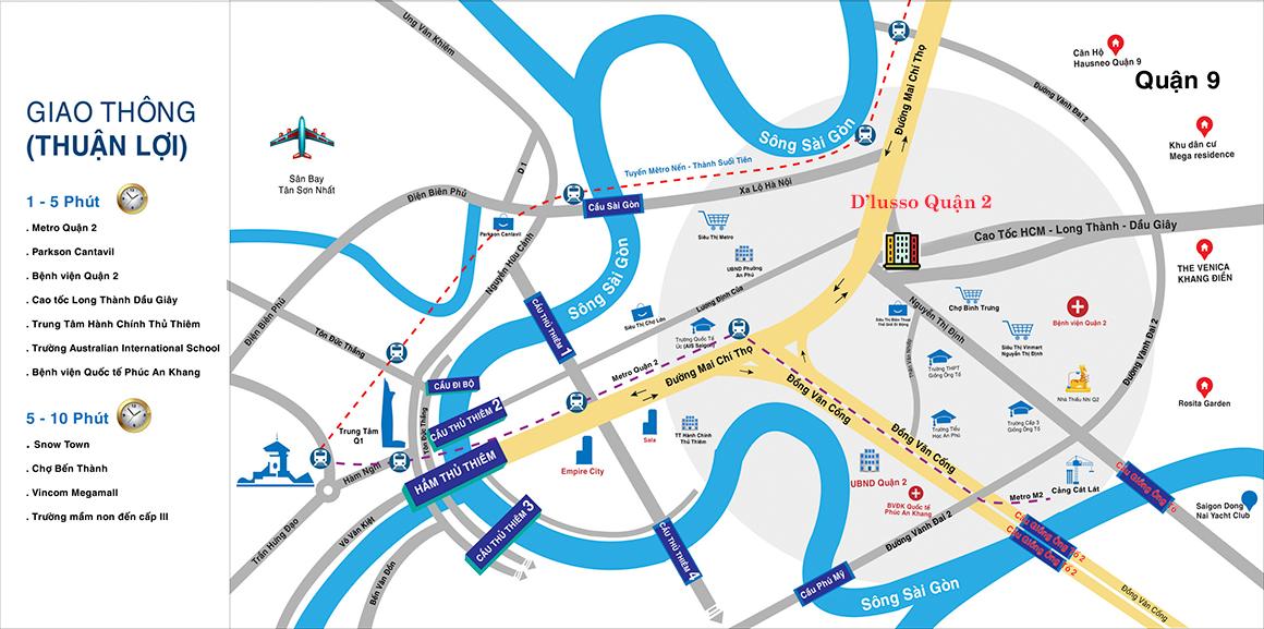 Vị trí dự án căn hộ chung cư D'lusso Quận 2 của Chủ đầu tư Điền Phúc Thành. Liên hệ: 0949 893 893 xem thực tế vị trí dự án