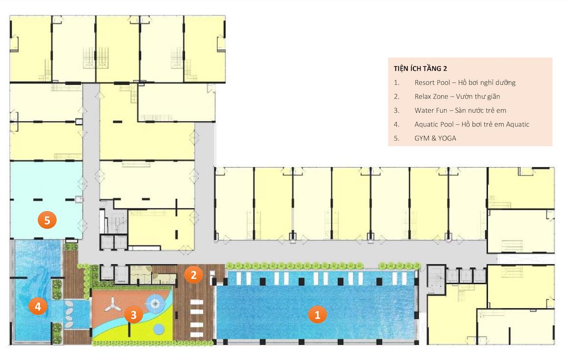 Mặt bằng tầng 2 dự án căn hộ chung cư Ricca Quận 9 đường Gò Cát