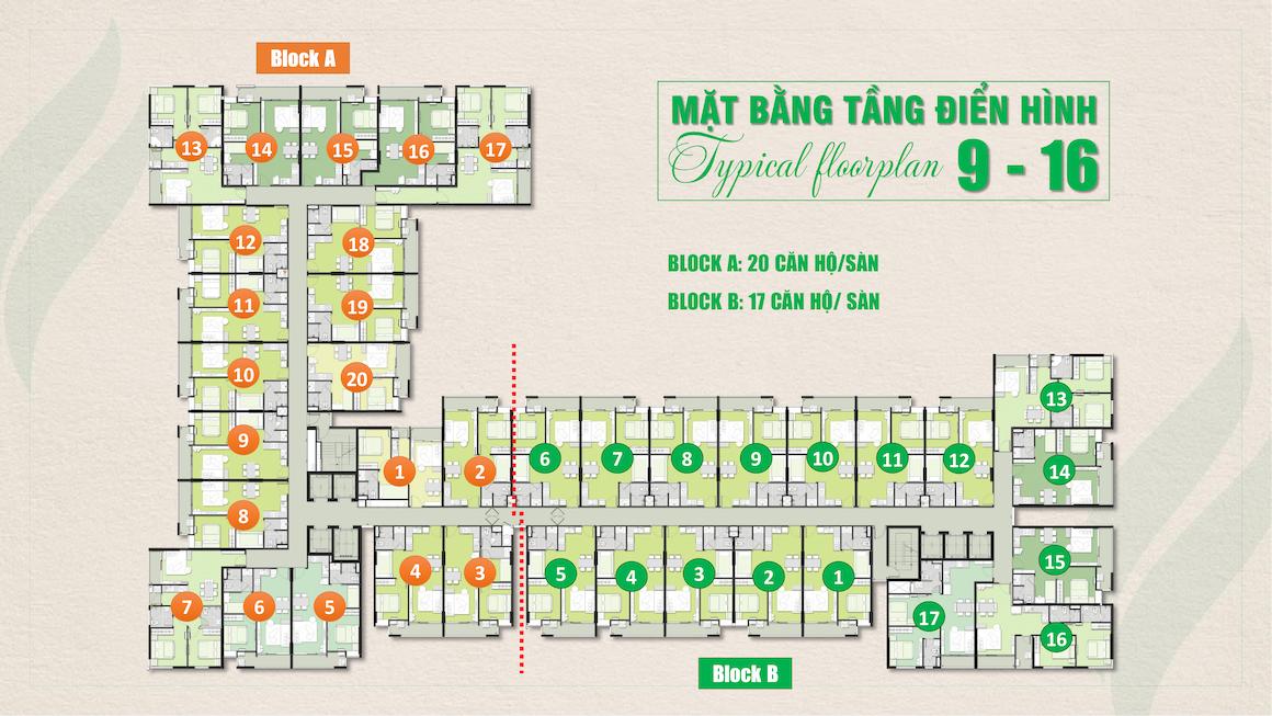 Mặt bằng tầng 9-16 dự án căn hộ chung cư Ricca Quận 9 đường Gò Cát