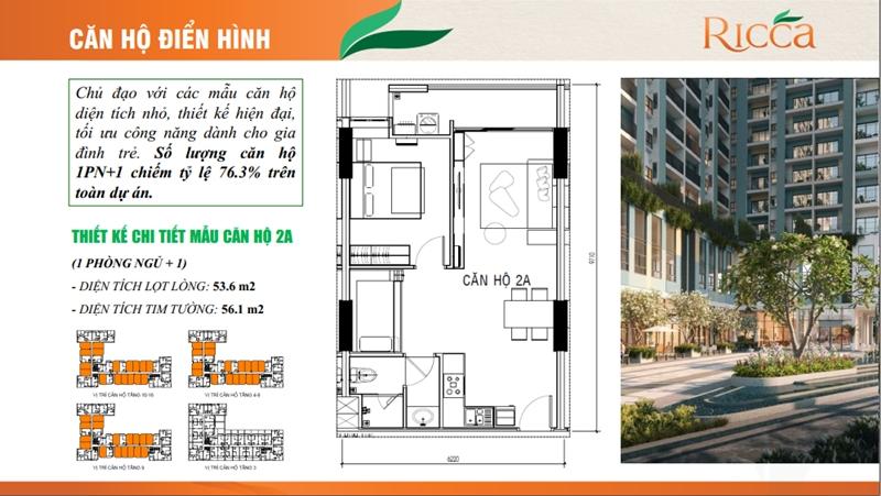 Mặt bằng và thiết kế tầng của căn hộ Ricca Gò Cát quận 9 mat bang tang du an can ho ricca go cat quan 9 2