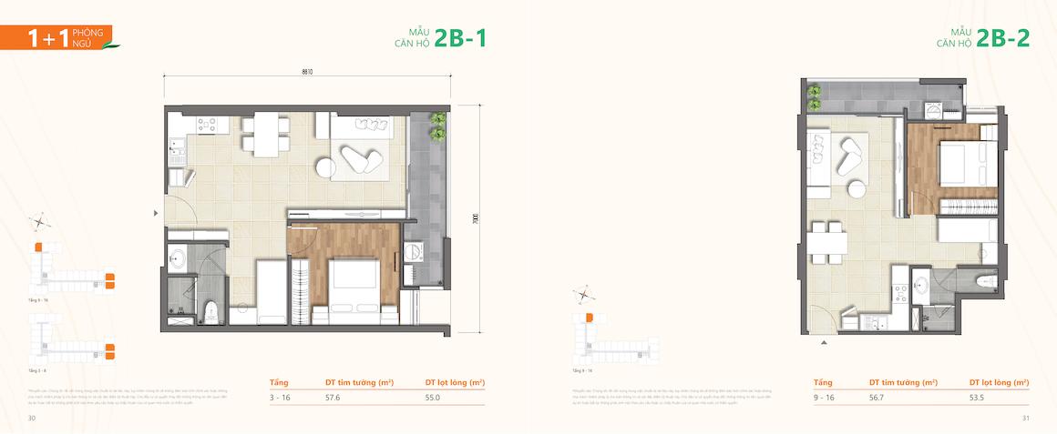 Loại 2: Thiết kế dự án căn hộ chung cư Ricca Quận 9 căn 1 PN