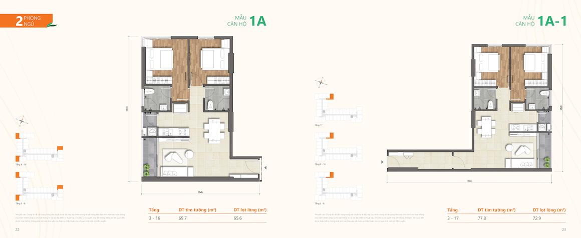 Loại 2: Thiết kế dự án căn hộ chung cư Ricca Quận 9 căn 2 PN