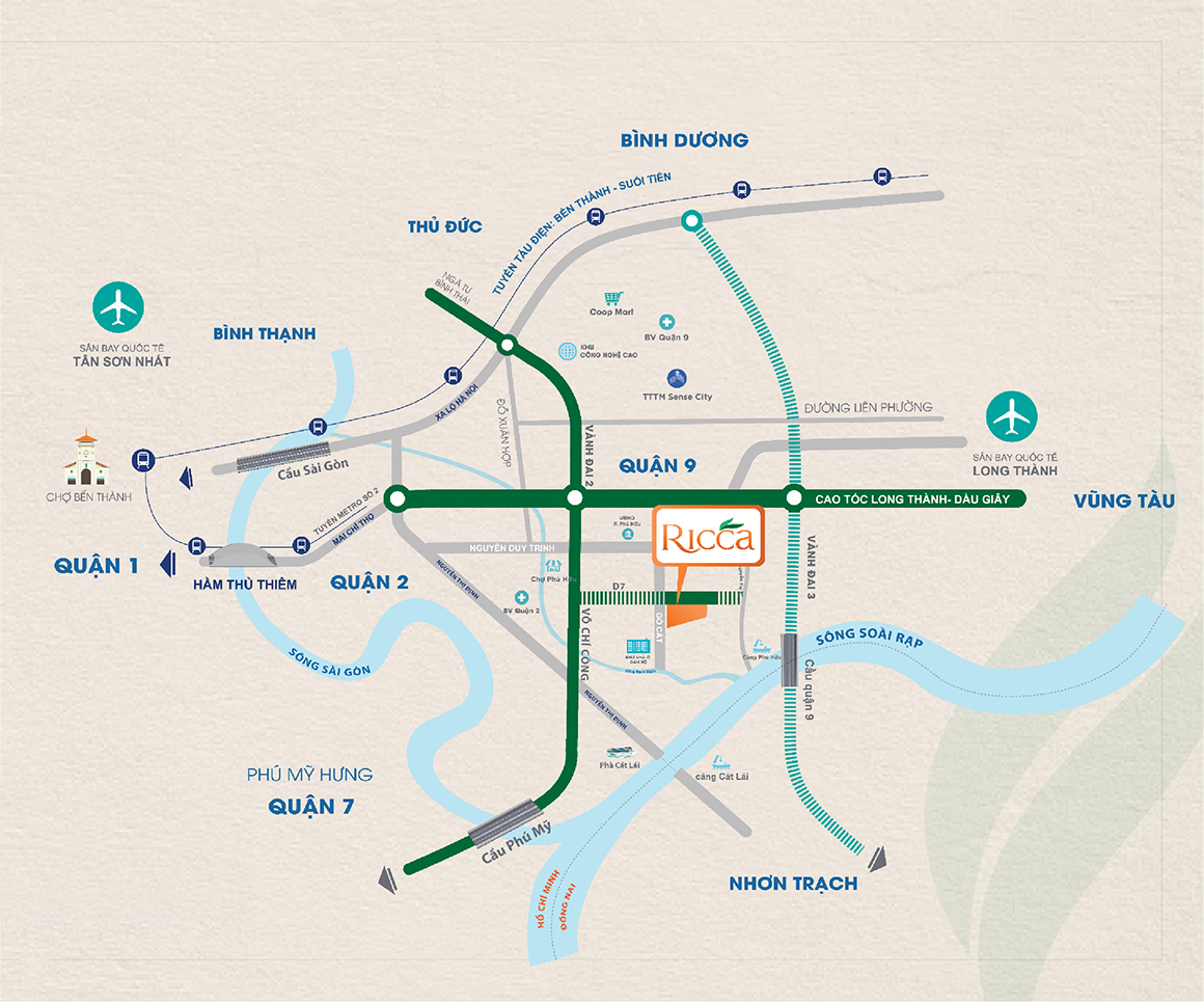 Vị trí dự án căn hộ Ricca Quận 9 đường Gò Cát. Liên hệ: 0949 893 893 xem thực tế dự án