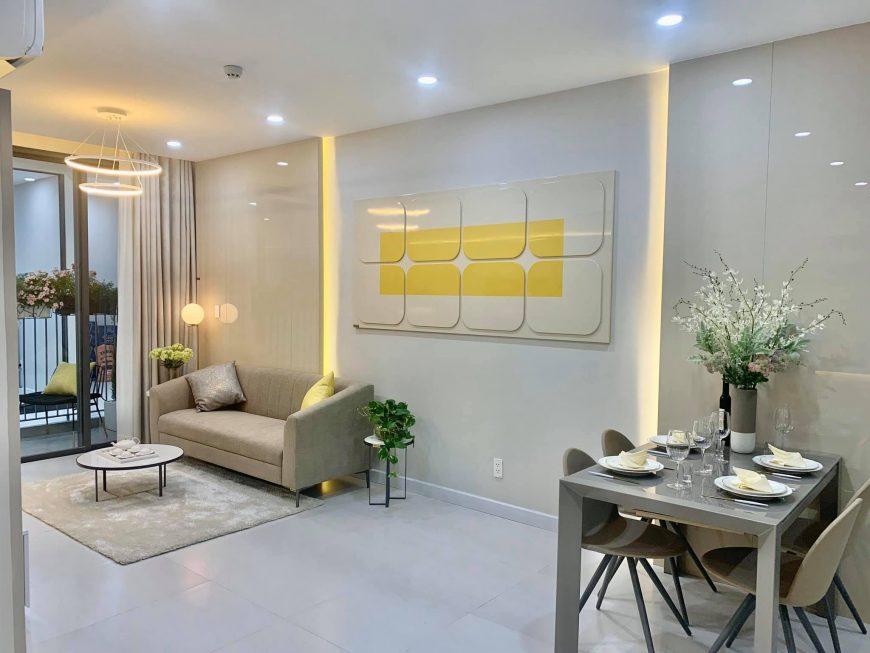 Phòng khách nhà mẫu dự án căn hộ Ricca Quận 9. Liên hệ: 0949893893 để hỗ trợ xem trực tiếp nhà mẫu
