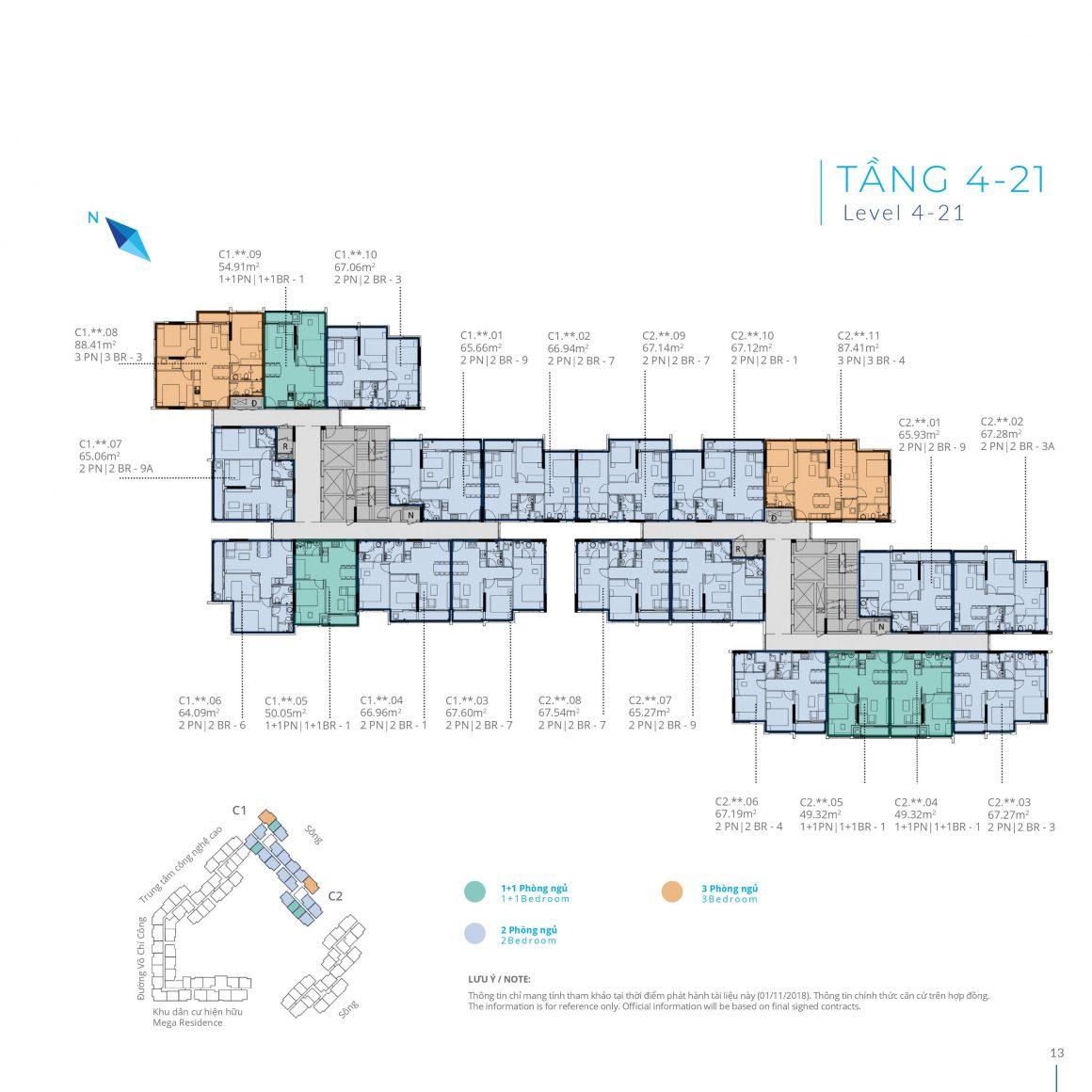 Mặt bằng tầng 4 - 21 Block C dự án Safira Khang Điền