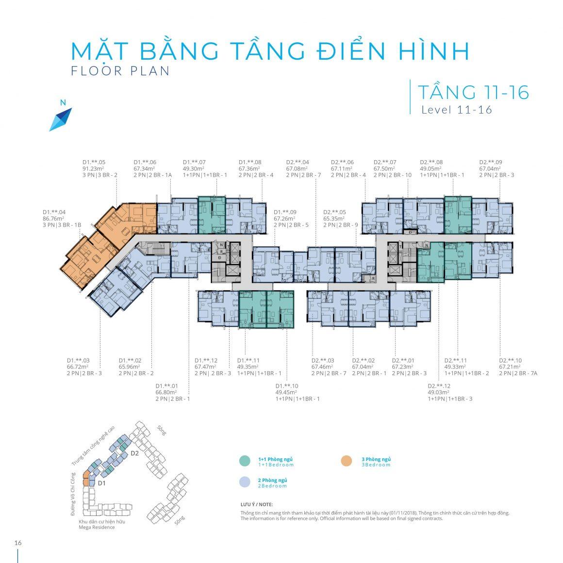 Mặt bằng Block D Tầng 11 - 16 dự án Safira Khang Điền
