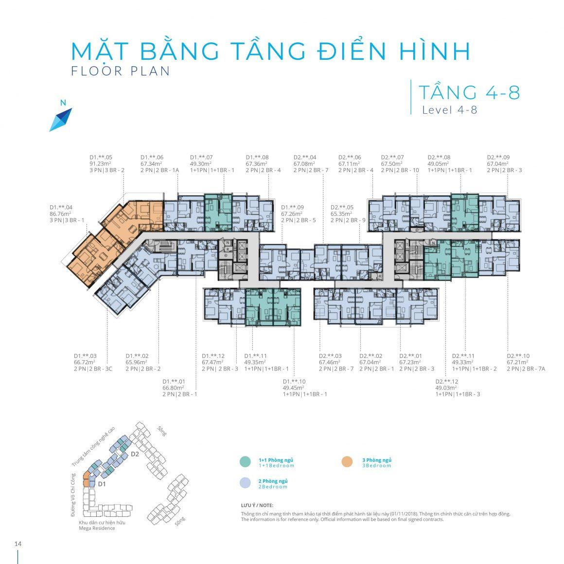 Mặt bằng Block D Tầng 4 - 8 dự án Safira Khang Điền