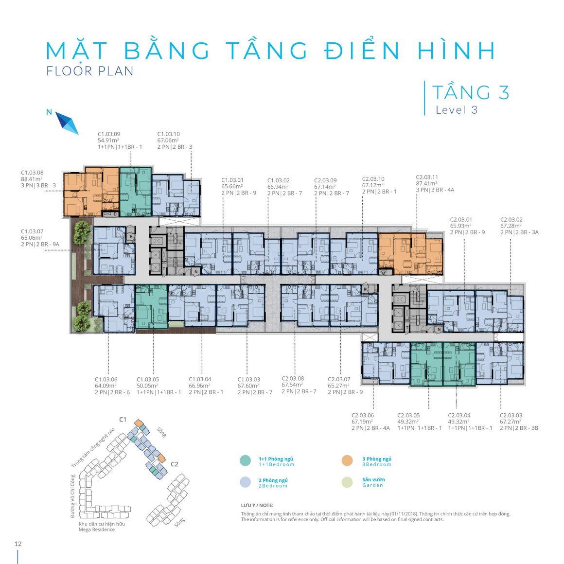 Mặt bằng tầng 3 Block C dự án Safira Khang Điền