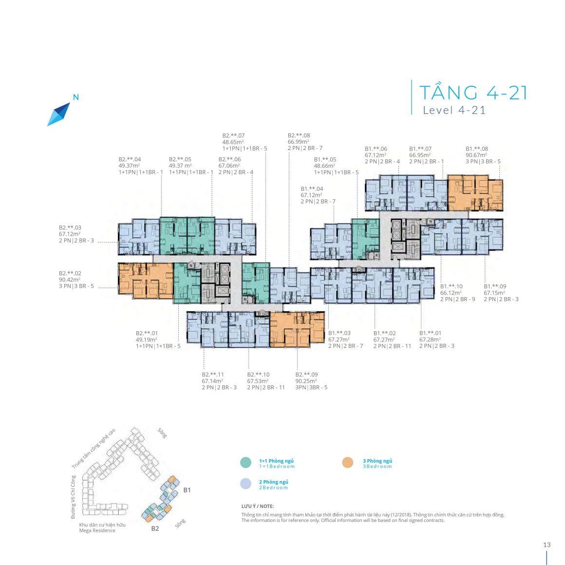 Mặt bằng tầng 4 - 21 Block B Safira Khang Điền