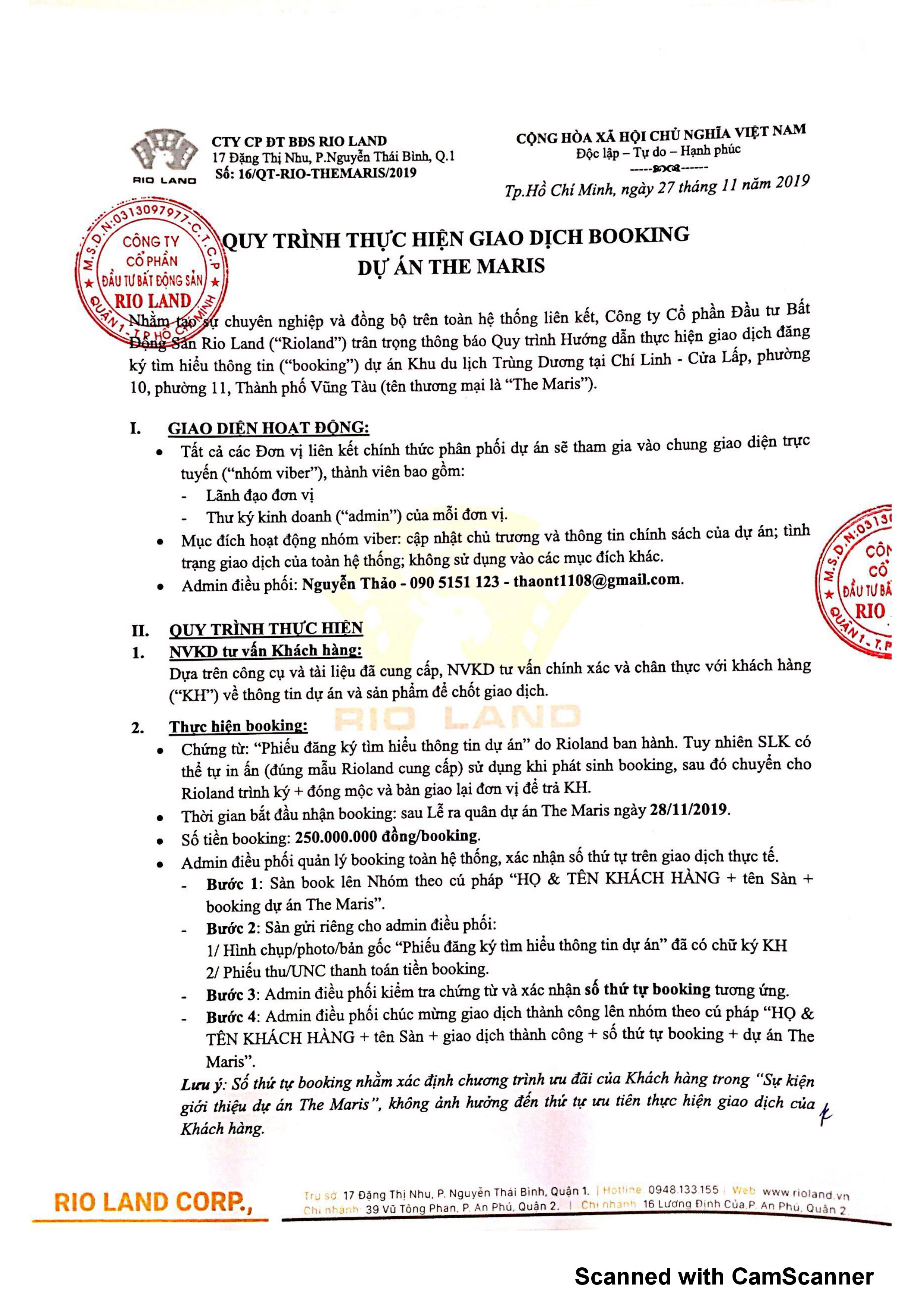 Quy trình thực hiện giao dịch booking dự án The Maris Vũng Tàu quy trinh dat cho booking du an the maris vung tau 0001