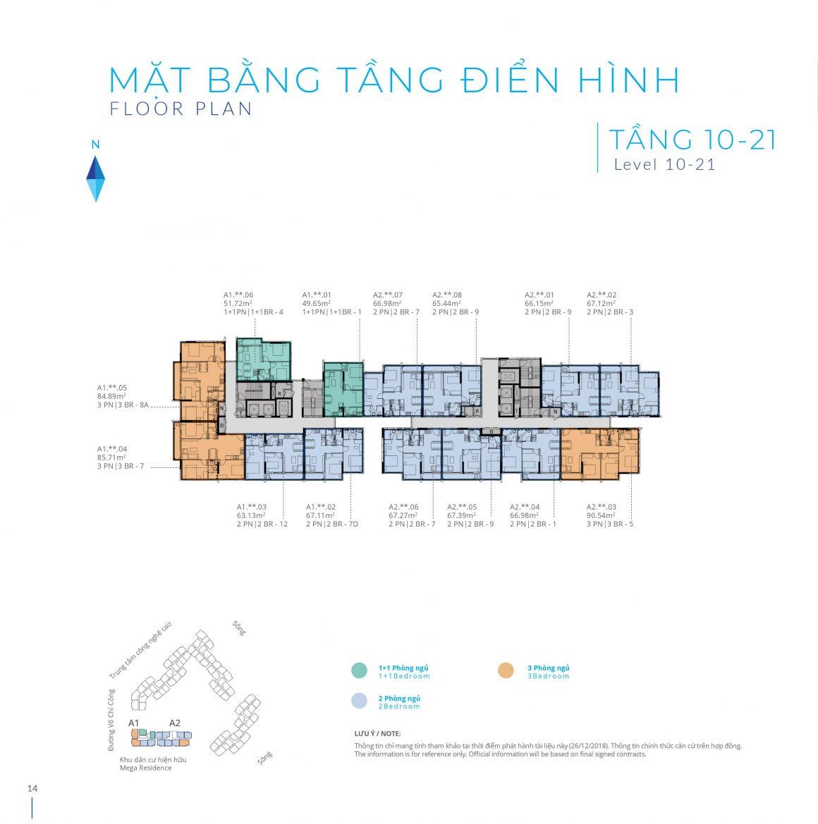 Mặt bằng Block A Tầng 10 - 21 Dự án Safira Khang Điền