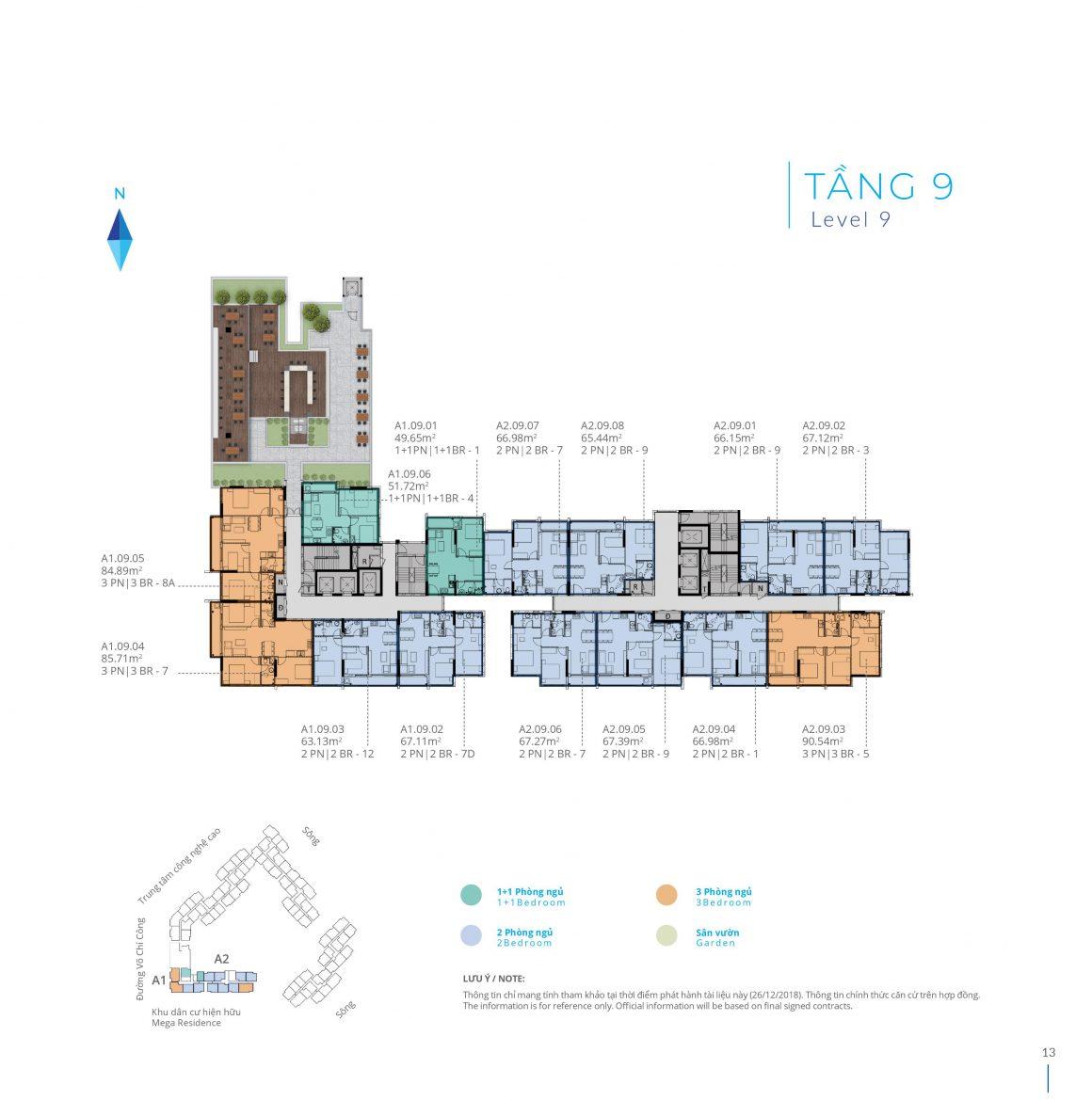 Mặt bằng tầng 9 Block A dự án Safira Khang Điền