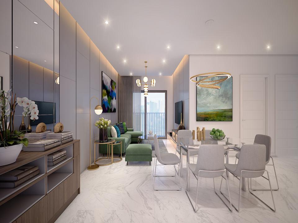 Thiết kế mẫu phòng khách dự án Safira Khang Điền Quận 9