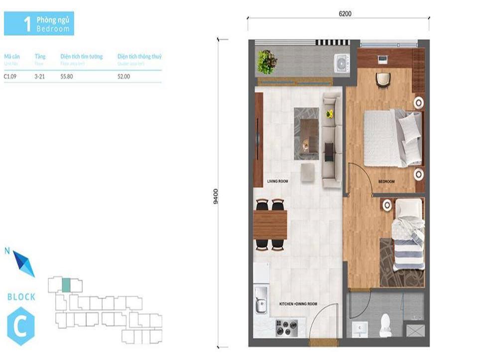Thiết kế nhà mẫu căn hộ 1PN Safira Khang Điền Quận 9