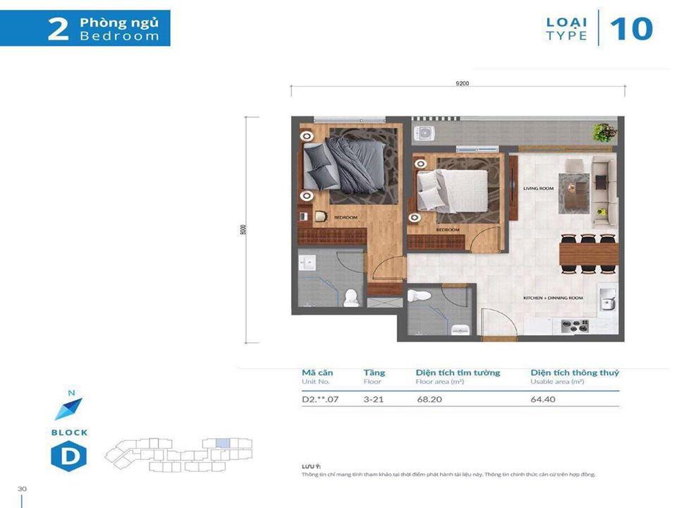 Thiết kế nhà mẫu căn hộ 2PN Safira Khang Điền Quận 9