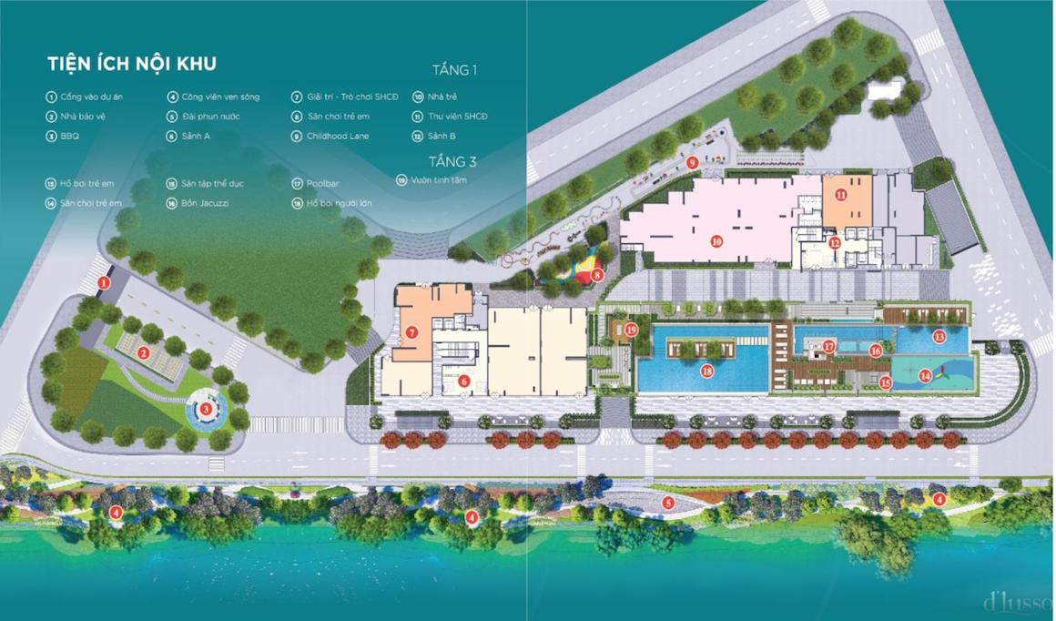 Tổng thể tiện ích dự án căn hộ D'lusso Quận 2