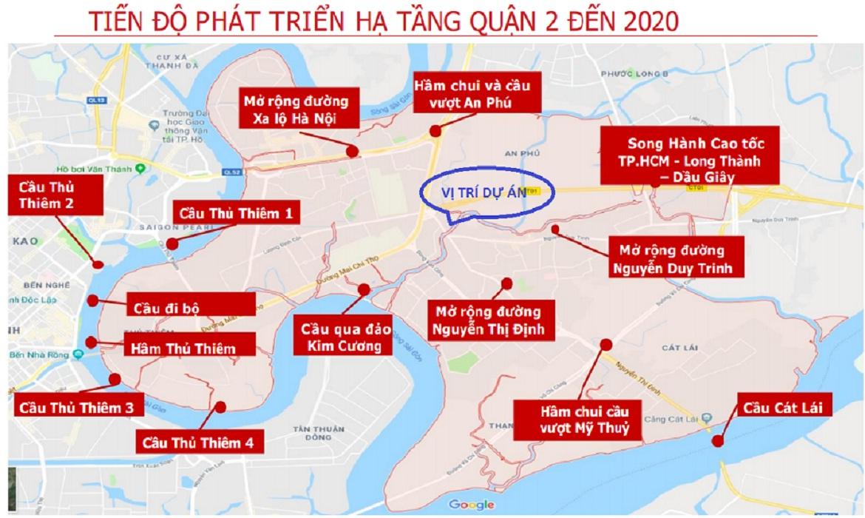 Tiến độ phát triển hạ tầng năm 2020 xung quanh dự án căn hộ D'Lusso quận 2