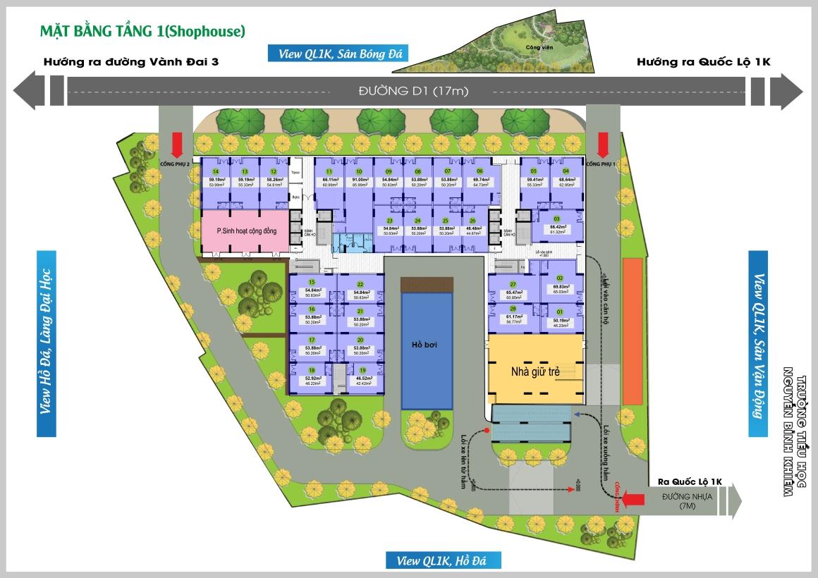 Mặt bằng tầng 1 Shop dự án Bcons Green View