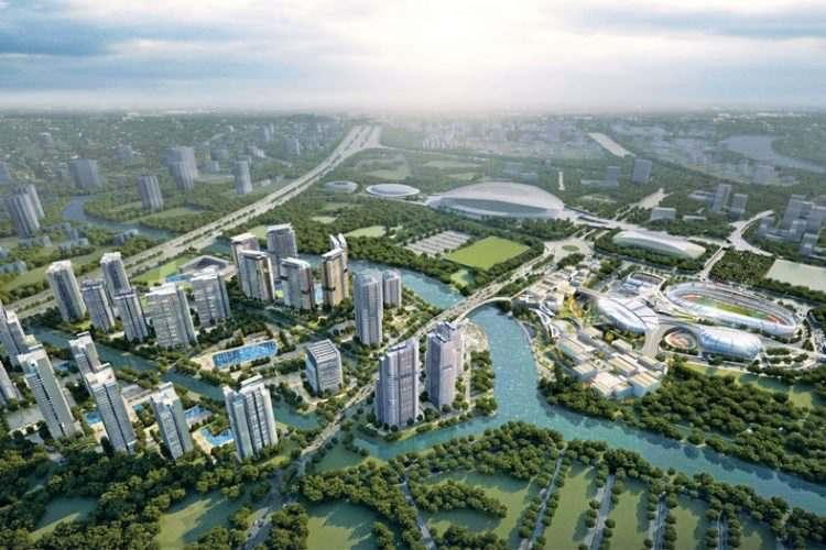 Phối cảnh toàn bộ dự án căn hộ Saigon Sport City quận 2 nhìn từ trên cao