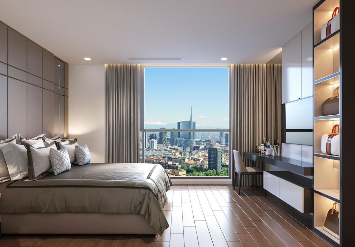 Phòng ngủ lớn căn hộ Masterise Ba Son Quận 1