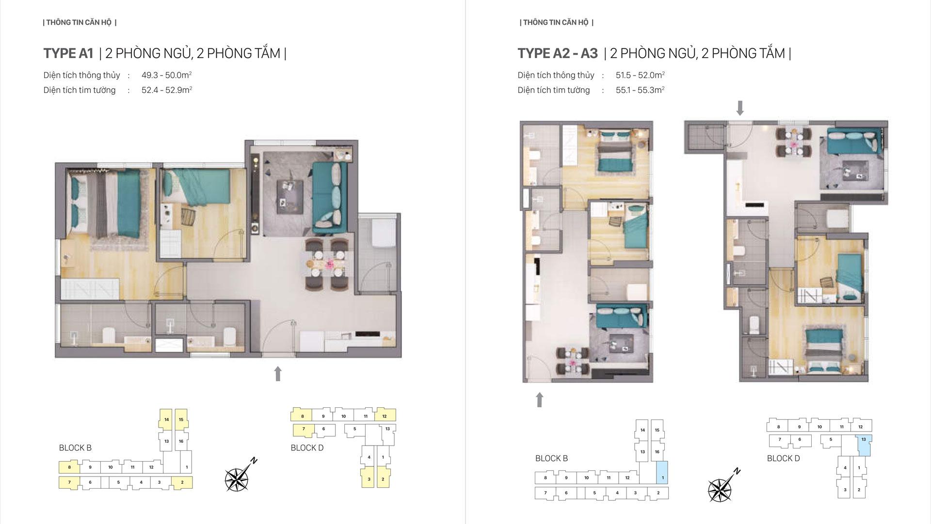 Thiết kế căn hộ a1 a2 a3 Citi Grand Quận 2