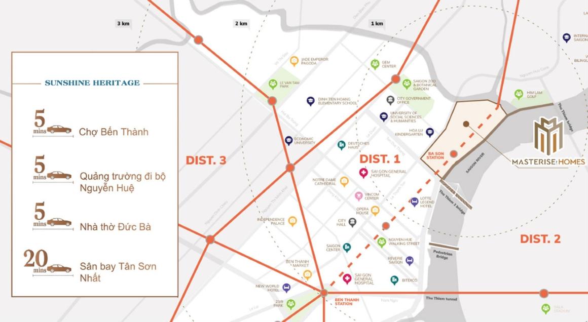 Vị trí địa chỉ dự án Masterise Ba Son Quận 1 Đường Nguyễn Hữu Cảnh