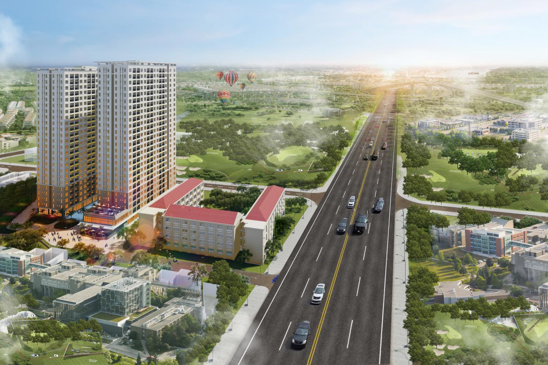 Hạ tầng rộng thoáng và kết nối thuận lợi của căn hộ Bcons Green Vew