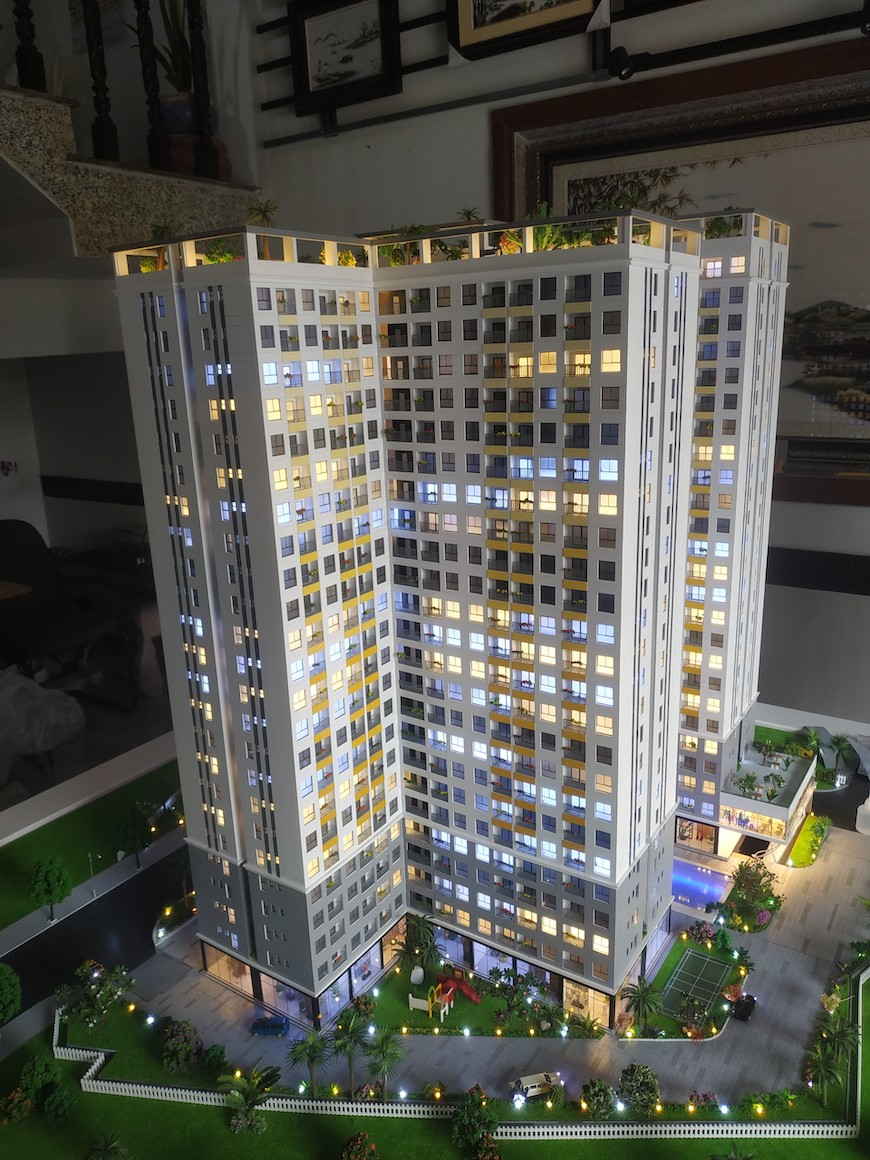 Chi tiết sa bàn dự án thể hiện tổng thể các căn hộ và thiết kế