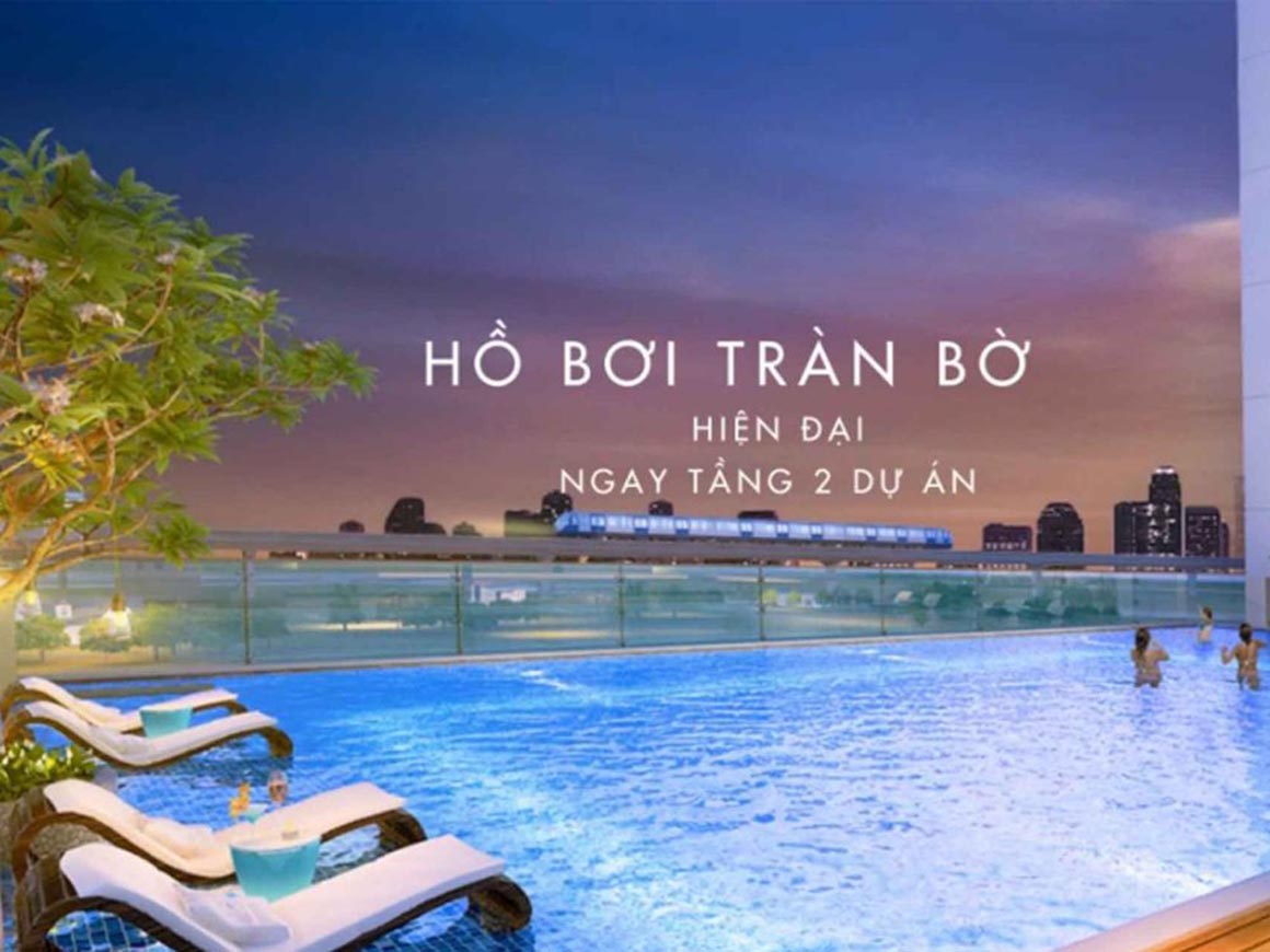 Hồ bơi tràn bờ ngay dự án Minh Quốc Plaza