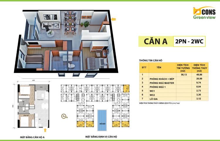 Thiết kế mặt bằng căn hộ A1 Bcons Green View Bình Dương