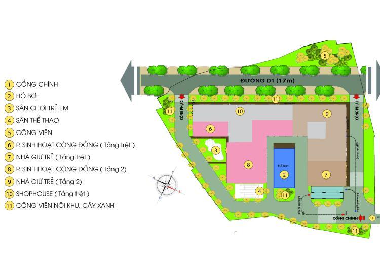 Mặt bằng tổng thể dự án căn hộ Bcons Green View Bình Dương
