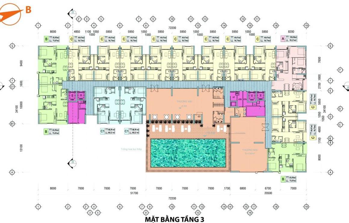 Mặt bằng tầng 3 dự án mInh Quốc Plaza