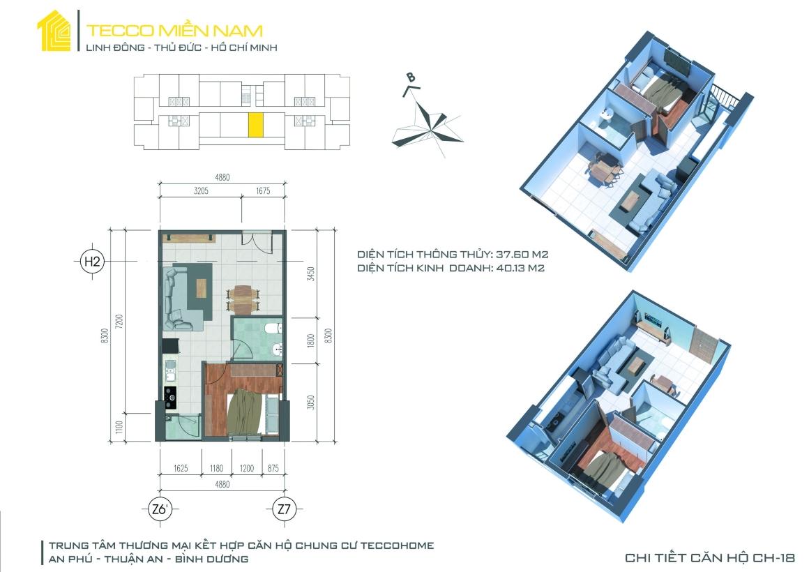 Mặt bằng thiết kế căn hộ 1 PN