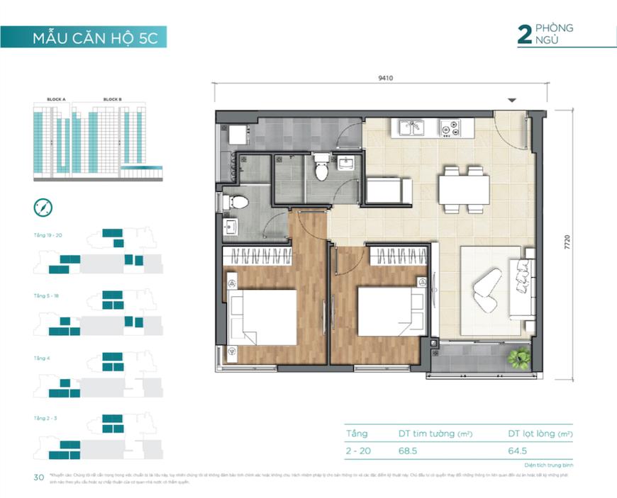 Thiết kế căn hộ 2 Phòng ngủ tại nhà mẫu dự án D'lusso Quận 2