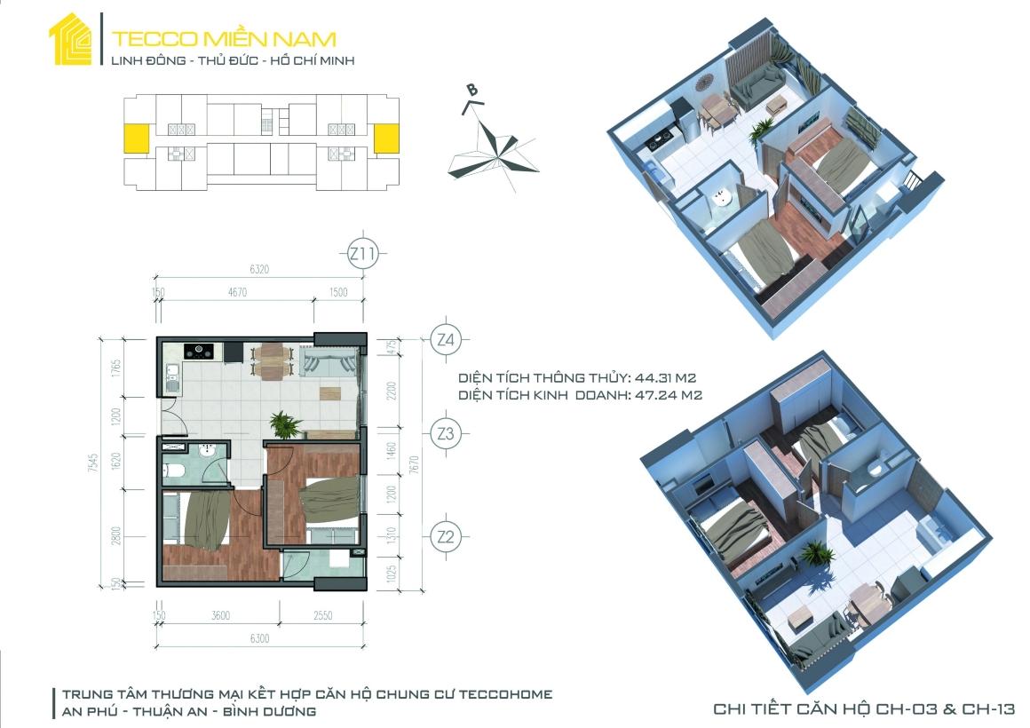 MB thiết kế căn hộ 2PN 2