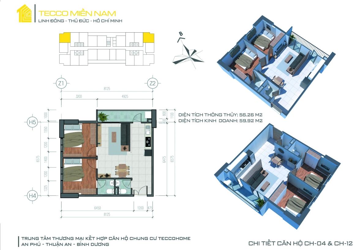 MB thiết kế căn hộ 2PN 3