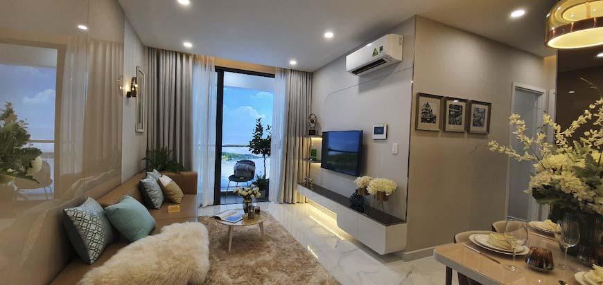 Phòng khách nhà mẫu dự án căn hộ D'lusso Quận 2