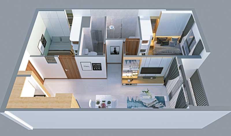 Phối cảnh tổng thể nhà mẫu căn hộ Bcons Green View
