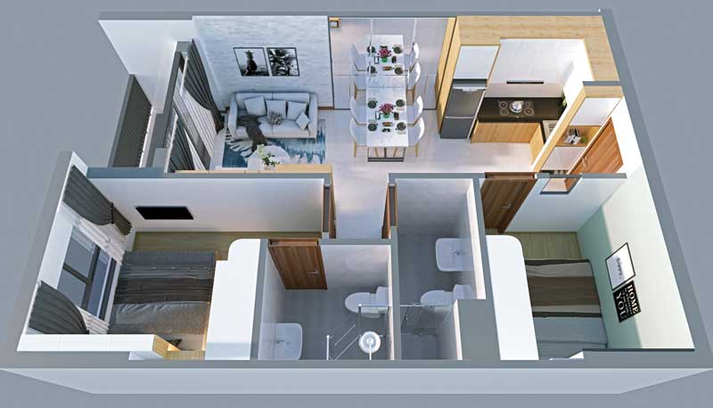 Thiết kế căn hộ Bcons Green View thông thoáng